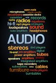 pic of subwoofer  - Audio Stereo Word Cloud Bubble Tag Tree Text vector on dark background  - JPG