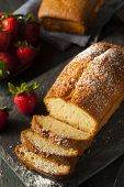 stock photo of pound cake  - Homemade Pound Cake with Strawberries and Cream - JPG