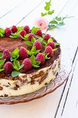 image of fancy cake  - Delicious homemade cake garnished with raspberries and mint leaves - JPG