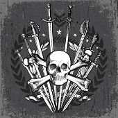 stock photo of crossed swords  - Vector grunge sword and skull crest - JPG