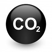 foto of carbon-dioxide  - carbon dioxide black glossy internet icon - JPG