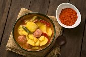stock photo of hungarian  - A bowl of the Hungarian dish called Paprikas Krumpli  - JPG