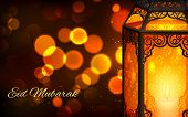 foto of eid ka chand mubarak  - illustration of illuminated lamp on Eid Mubarak  - JPG