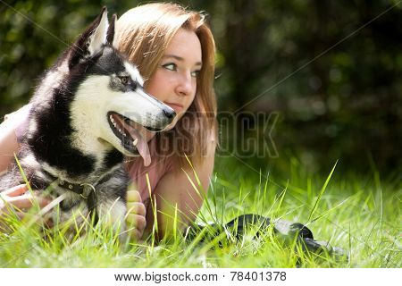 Girl And Dog Are Looking For The Same Place