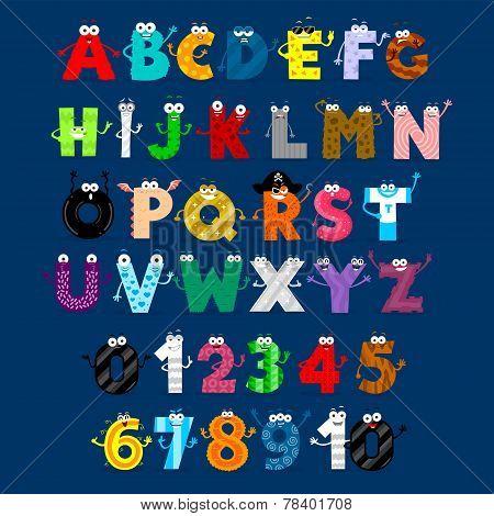 Alphabet & Numbers Monster Cartoon Characters