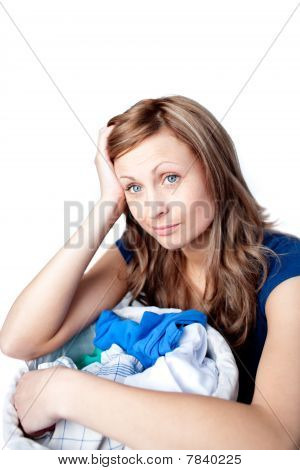 Displeased Woman Doing Laundry