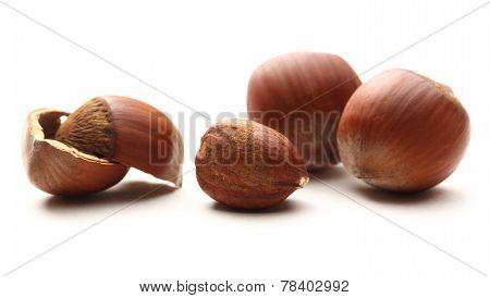 Whole And Cracked Hazelnuts