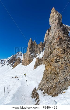Slope L'Aiguille Percee near Tignes, France