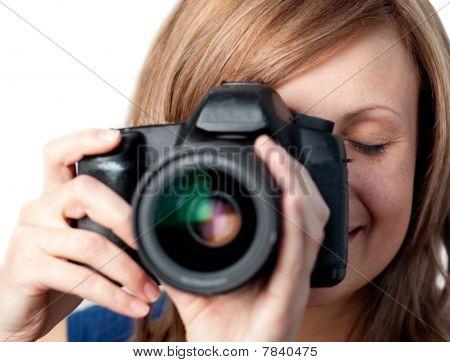 Beautiful Woman Using A Camera