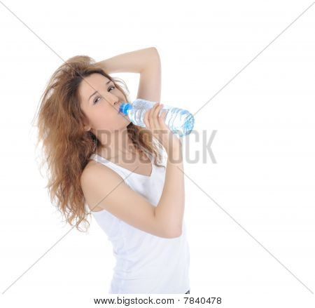 Charming Brunette Drinking Water