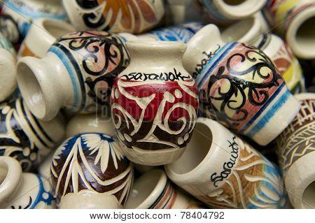 Typical pottery souvenirs from Sarawak, Kuching, Malaysia.
