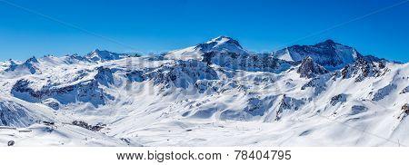 Winter panorama Tignes.