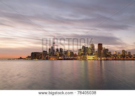 Toronto Skyline From The East At Twilight