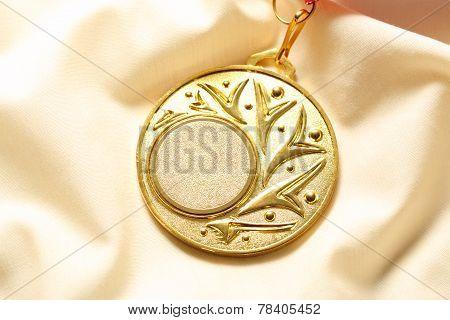 Metal Medal On Silk Cloth