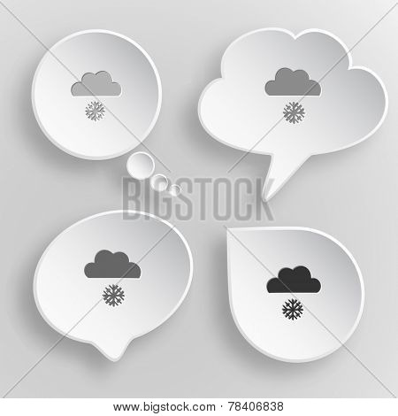 Snowfall. White flat vector buttons on gray background.