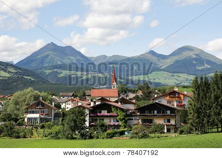 Idyllic Bavarian Landscape, Village And Zugspitze