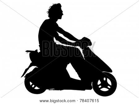 Motorcyclist in sportswear on white background