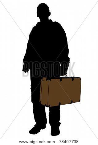 Man whit travel big suitcases on white background