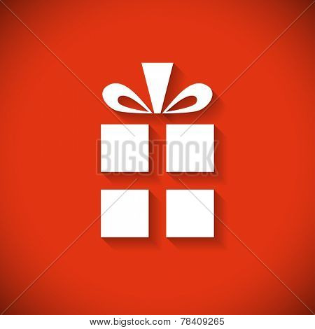Gift box flat design Christmas greeting card.