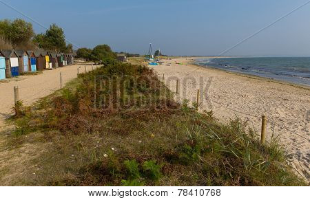 Beach huts and Studland knoll beach Dorset England UK