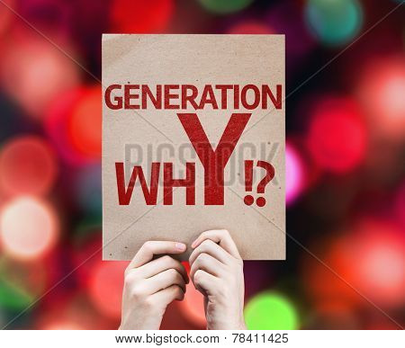 Generation whY !? card with colorful background with defocused lights
