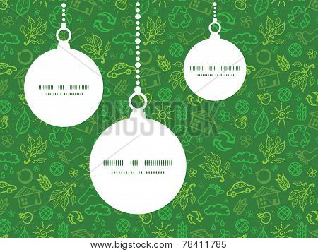 Vector ecology symbols Christmas ornaments silhouettes pattern frame card template