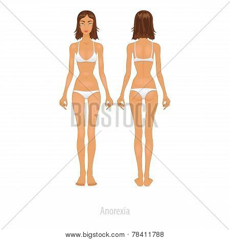 Slim girl is looking on her weight before  Vector Illustration.