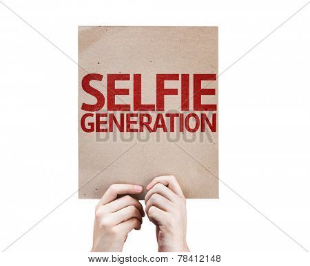 Selfie Generation card isolated on white background