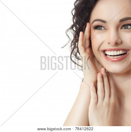 closeup portrait of attractive  caucasian smiling woman blond isolated on white studio shot lips toothy smile face hair head and shoulders  blue eyes tooth