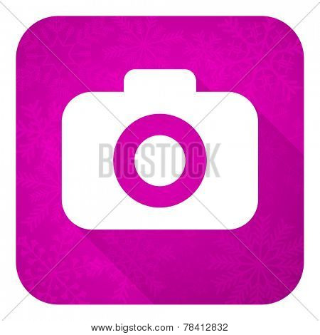 photo camera violet flat icon, christmas button, photography sign