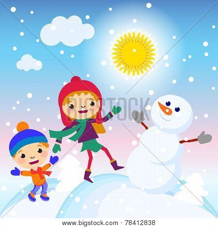 snowman, snow, card, sun, design, winter, decoration,
