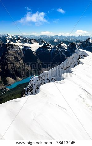 Mountain View From Mt Temple Peak, Rocky Mountains, Alberta, Canada