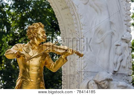 the johann strauss monument in vienna's city park.