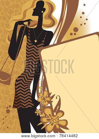 Fashion page with a dark brown girl silhouette on beige background. Fashion Template. Vector illustration