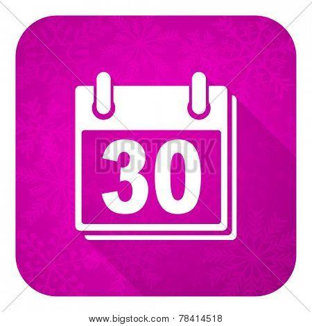 calendar violet flat icon, christmas button, organizer sign