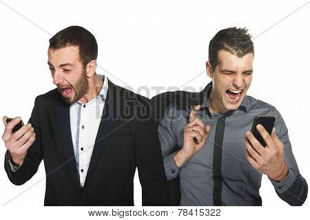 Business men yelling at their phones
