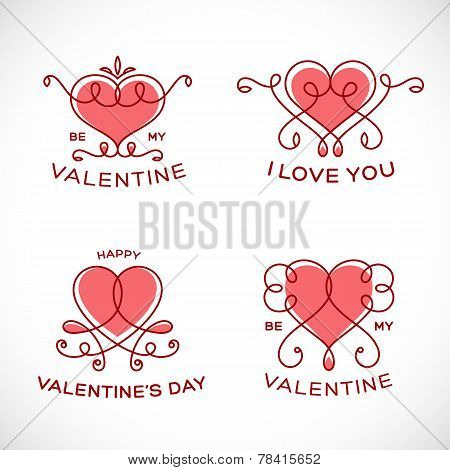 Graceful Floral Valentine Line Style Vector Heart Set