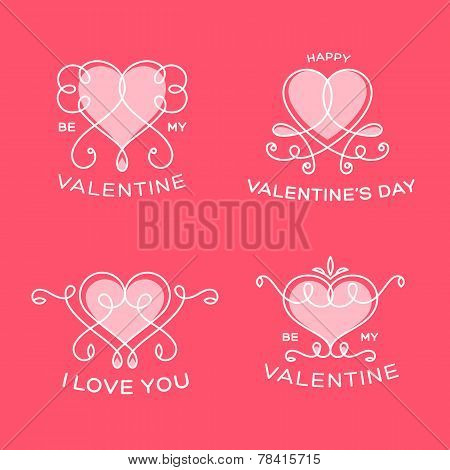 Graceful Floral Valentine Line Style Vector Hearts