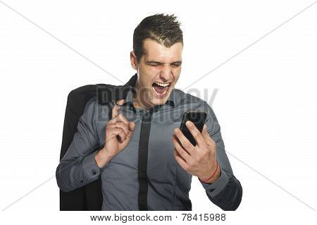 Business man yelling at phone