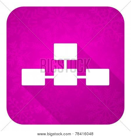 database violet flat icon, christmas button