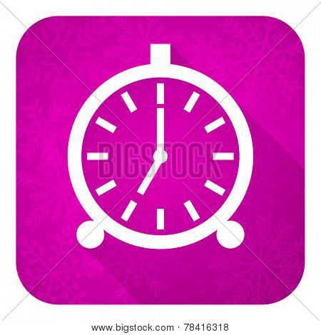 alarm violet flat icon, christmas button, alarm clock sign