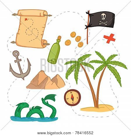 Hand Drawn Vector Illustration - Treasure Map And Design Elements (mountains,   Palm,compass, Anchor