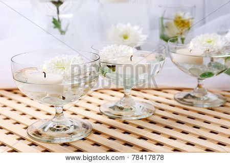 Floating candles in glass vases
