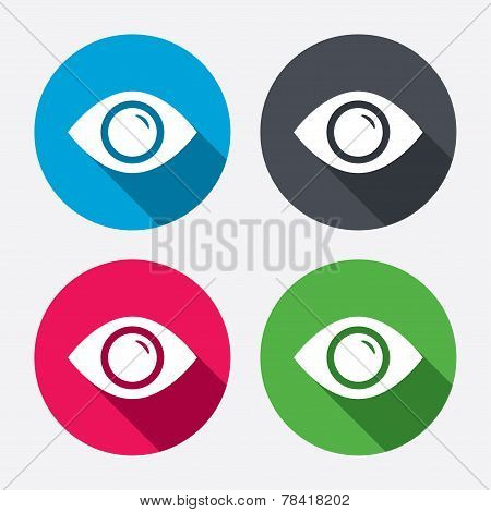Eye sign icon. Publish content button.