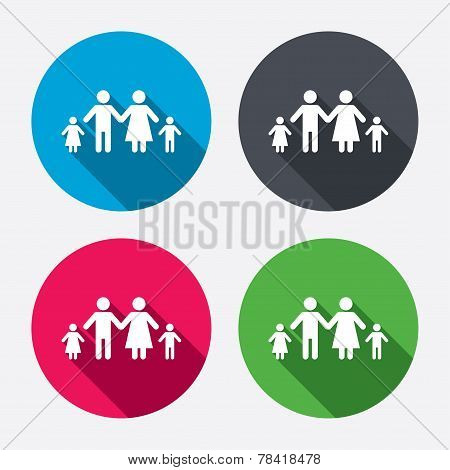Complete family with two children sign icon.