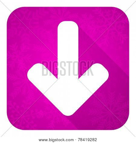 download arrow violet flat icon, christmas button, arrow sign
