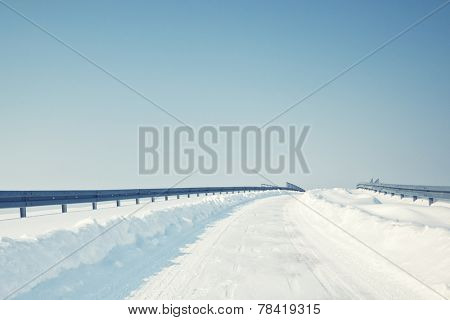 Highway covered in snow in winter