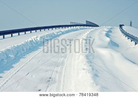 Highway covered in snow