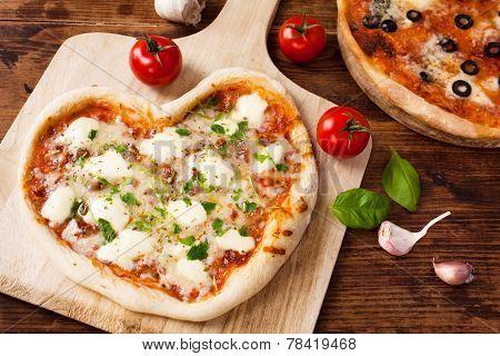 Romantic Heart Shaped Italian Pizza Margherita