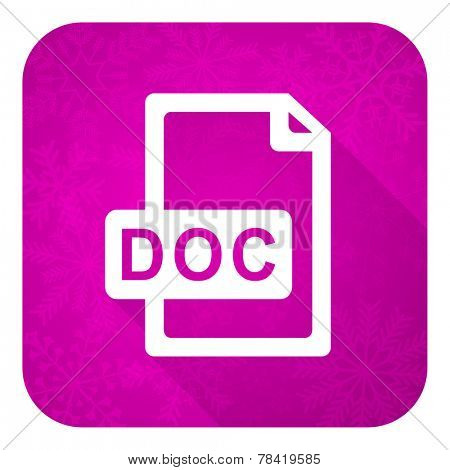 doc file violet flat icon, christmas button